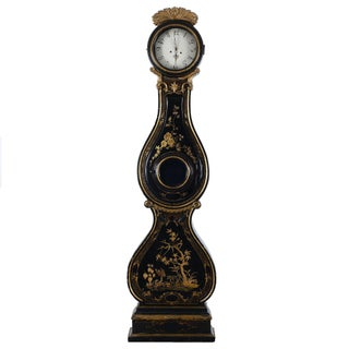 Swedish Antique Black & Gold Painted Mora Clock