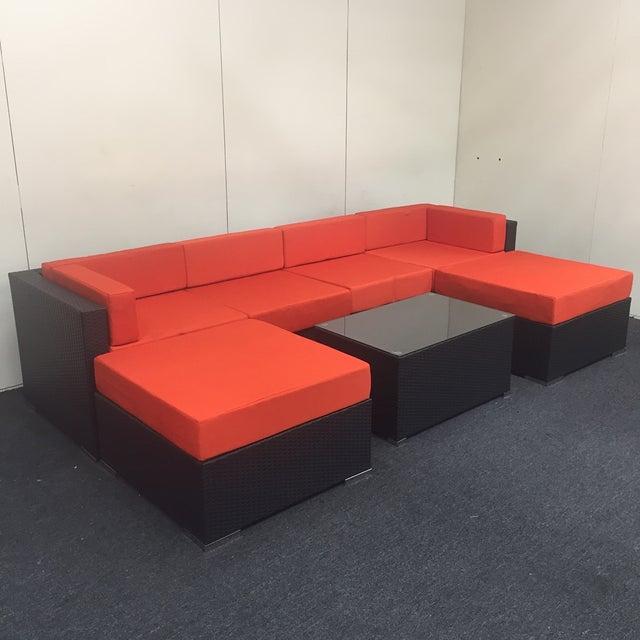 Orange Wicker Patio Set - Image 2 of 10