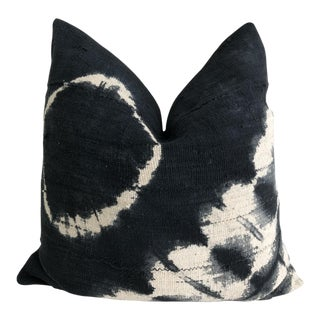 """Mali Mud Cloth Tie-Dye and Linen Pillow - 22"""" x 22"""""""