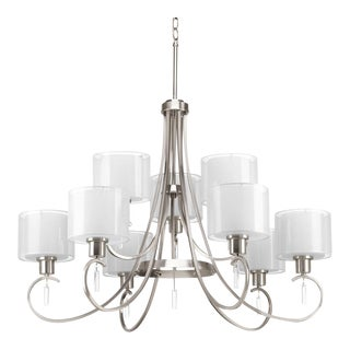 9 Light Brushed Nickel Tiered Chandelier