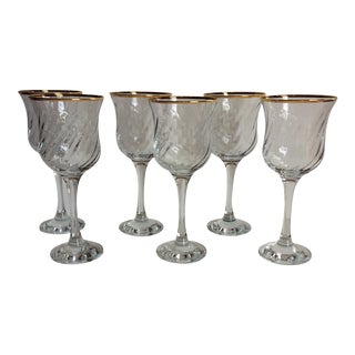 Vintage Crystal Wine Glasses - Set of 6