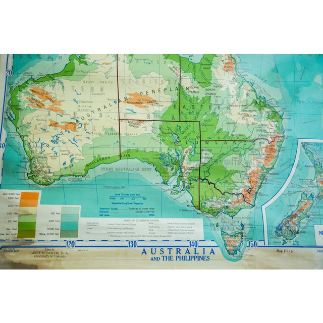 Vintage Pull Down Map Of Australia And Phillipines - Image 2 of 6