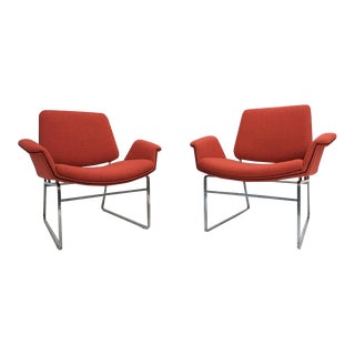 Restored 'double Shell' Lounge Chairs by Illum Wikkelsø for Arflex, Italy, 1960
