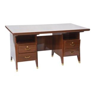 Italian Modern Walnut and Brass Executive Desk, Gio Ponti