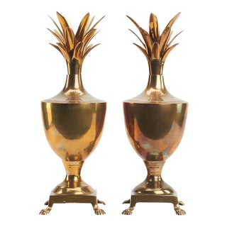 Hollywood Regency Brass Pineapple Urns - a Pair