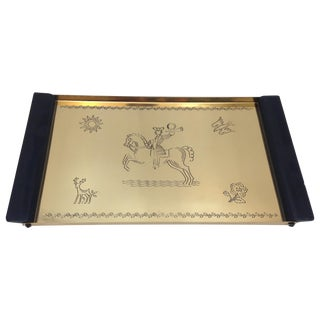 Mid-Century Brass Etched Tray With Wood Handles