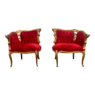 Gold Gilt Parlor Chairs - A Pair