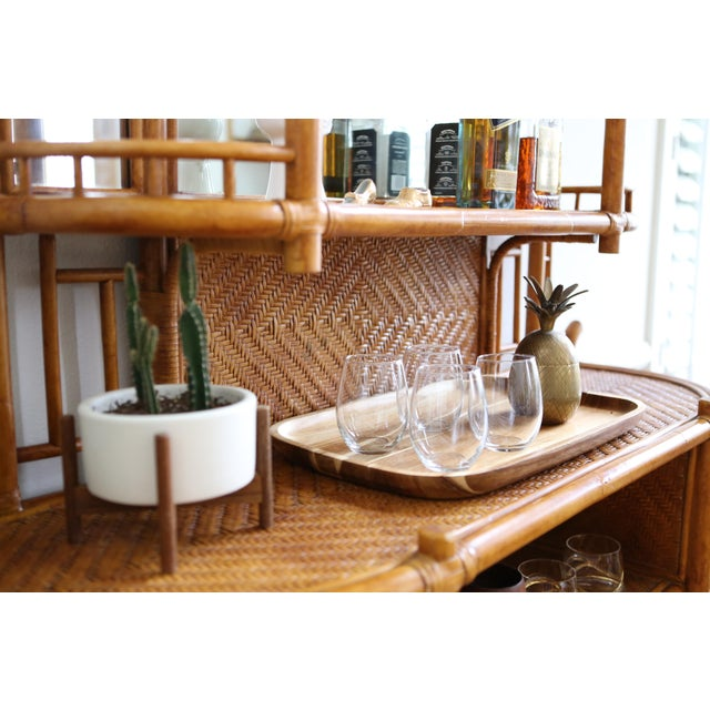 Vintage boho chic vintage banboo rattan etagere shelf for Etagere campagne chic