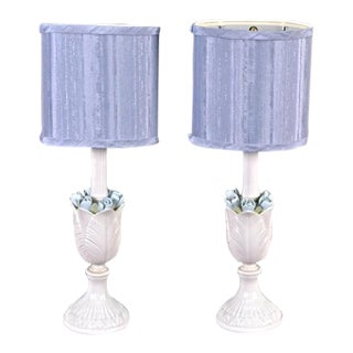Blue & White Floral Table Lamps - A Pair