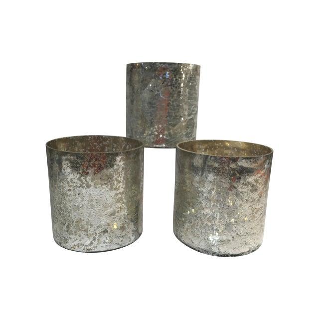 Image of Mercury Glass Hurricane Candles - Set of 3