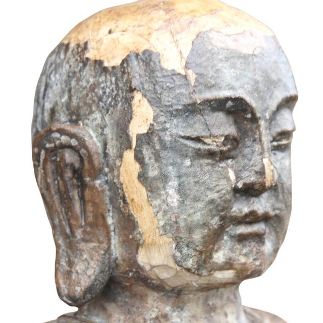 Antique Wooden Monk Statue - Image 3 of 6