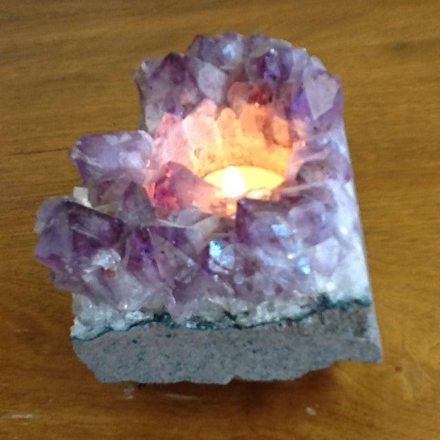 Raw Amethyst Rock Crystal Votive - Image 6 of 11