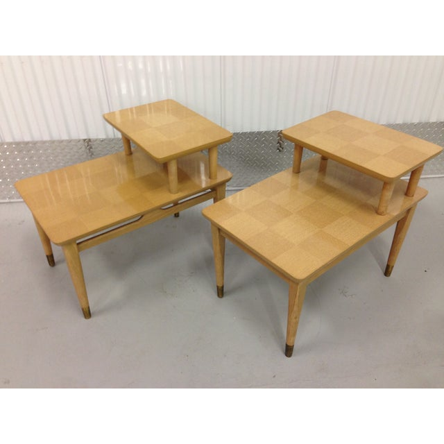 Mid-Century Modern Two-Tiered End Tables - A Pair - Image 2 of 6