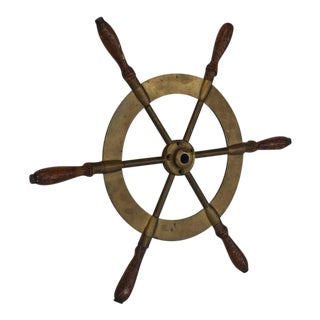 Antique Brass Boat Ship Steering Wheel
