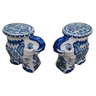 Blue & White Elephant Garden Seats - A Pair