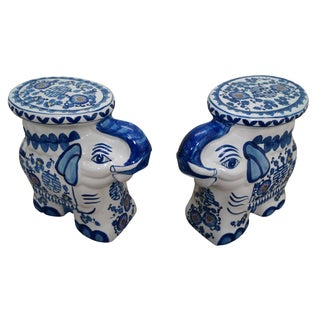 Blue & White Elephant Garden Seats - Pair