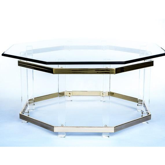 Lucite and brass coffee table chairish for Lucite and brass coffee table