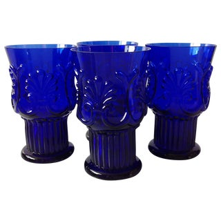 Cobalt Blue Pilgrim Glass Tumblers - Set of 4