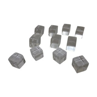 Lucite Clear Cube Drawer Pulls - Set of 11