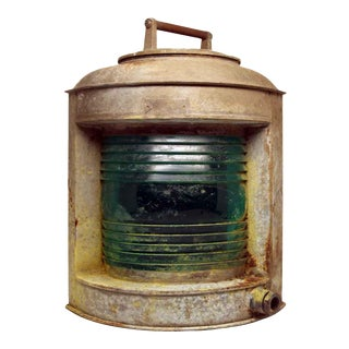 Old Perko Nautical Lantern With Teal Glass