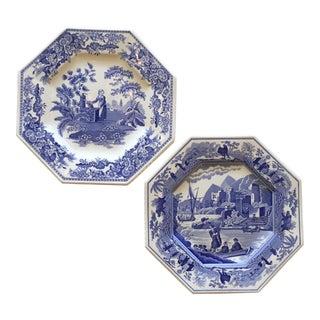 Blue & White Spode Porcelain Plates - A Pair