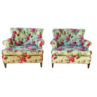 Drexel Heritage Tufted Mint Rose Arm Chairs - A Pair