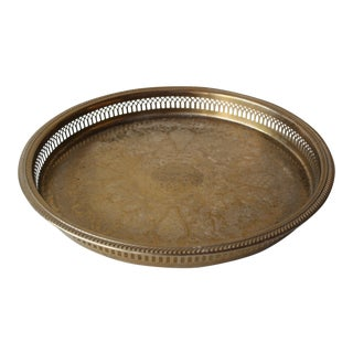Round Brass Gallery Tray