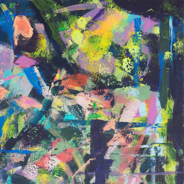 Contemporary Lilac & Chestnut Abstract - Image 3 of 6