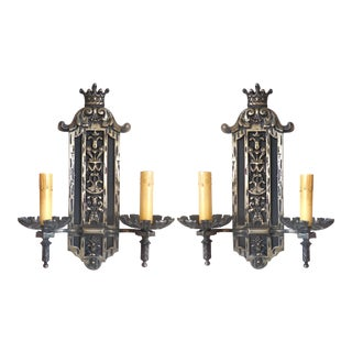 Nickel Bronze Wall Sconces - A Pair