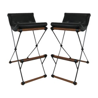 Pair of Iron and Oak Bar Stools by Cleo Baldon for Terra