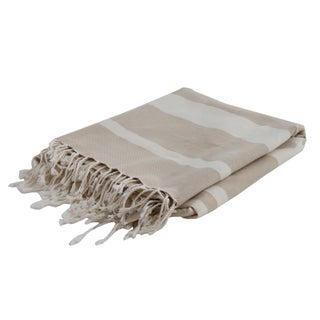 Taupe and Ivory Striped Fouta Throw