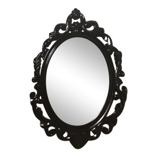 Rococo Style Black Lacquered Wall Mirror