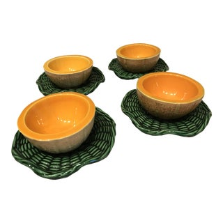 Majolica Melon Bowls With Saucers - Set of 4