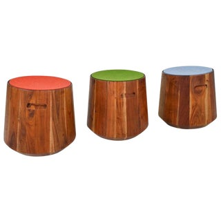 Set of Three Wooden Drum Style Tables
