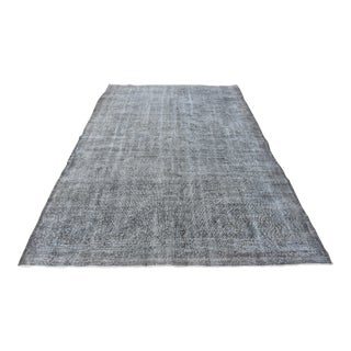 Vintage Turkish Boho Chic Muted Gray Rug - 5′11″ × 9′1″