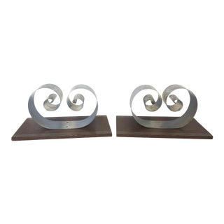 Revere Fred Farr Chrome Coil Bookends - A Pair