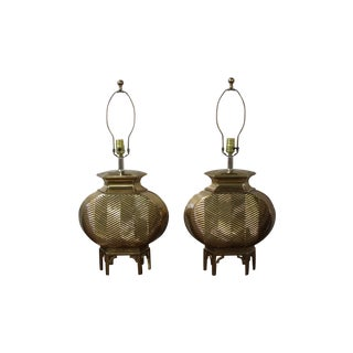 Large Brass Chinoiserie Chapman Table Lamps - Pair