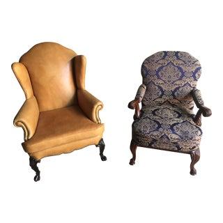 Mahogany Library & Wing Chair - Pair