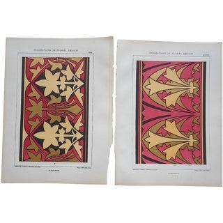 Ornamental Design Folio Size Chromolithographs - a Pair