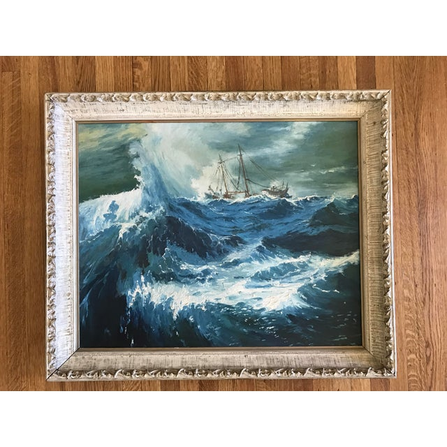 "1963 Bonnie Posselli ""Storm Tossed"" Nautical Oil Painting - Image 3 of 8"