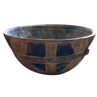 Large African-Style Wood Bowl