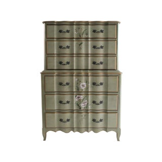 Green Floral Painted French Provencal High Chest
