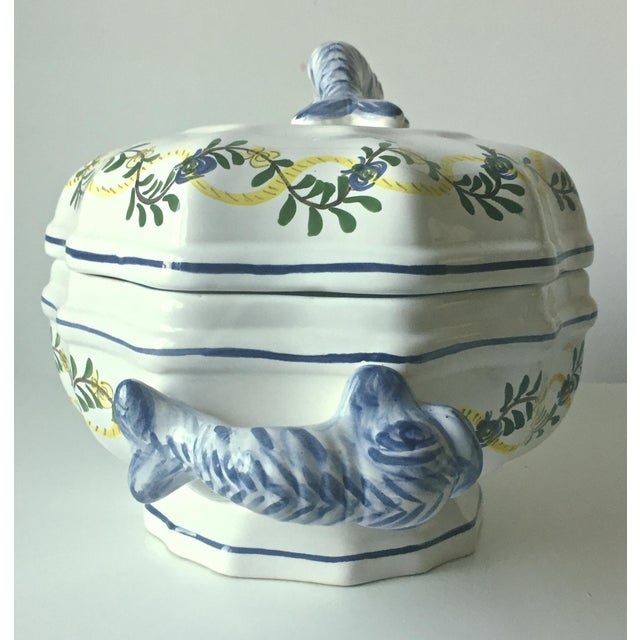 Vintage Faience Dolphin Handle Tureen - Image 4 of 7