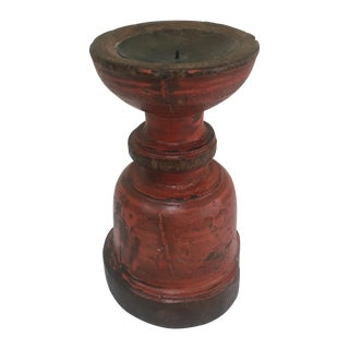 Painted Capital Candle Holder