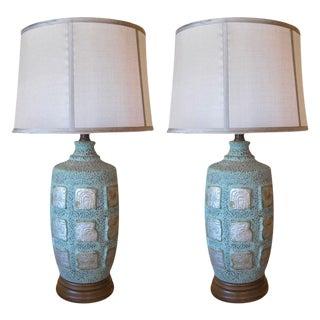 Mayan Glyph Ceramic Lamps - A Pair