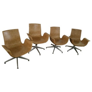 Mid-Century Winged Leather Chairs - Set of 4