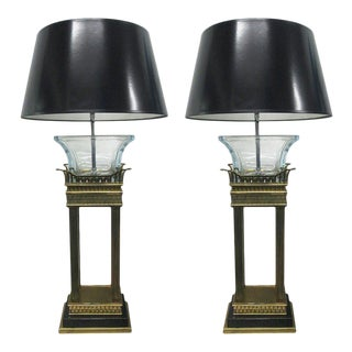 Pair of Neoclassical Style Bronze and Glass Column Lamps