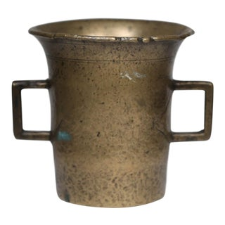 Early 20th Century Solid Patinated Bronze Two Handled Vessel