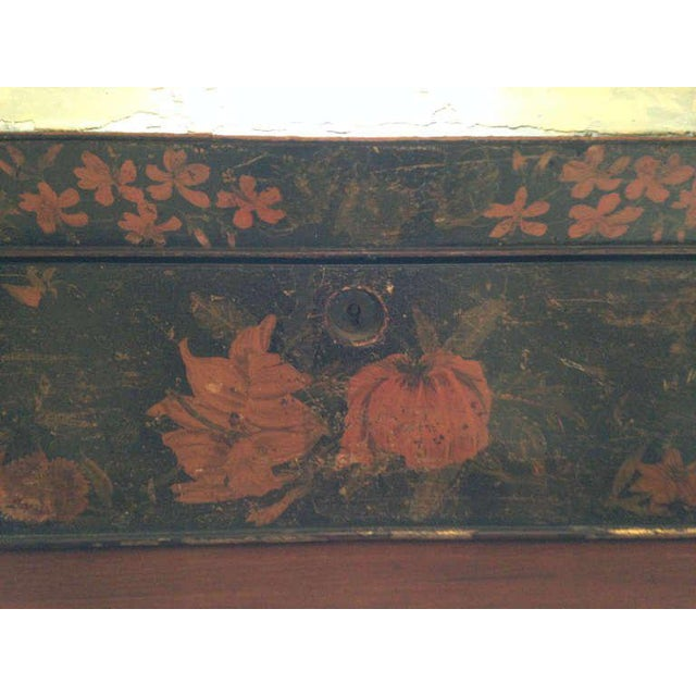 Painted English Victorian Tea Caddy with Original Fittings and Lined in Velvet - Image 4 of 8
