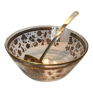 Vintage Culver Gold Patterned Punch Bowl & Ladle
